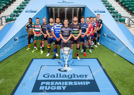 Players: Gloucester's Jaco Kriele, Newcastle Falcons' Toby Flood (Front with Trophy), Bath's Toby Faletau, Northampton Saints' Tom Wood, Leicester Tigers' Ben Youngs, Exeter Chiefs' Jack Nowell, Sale Sharks' Jono Ross, Harlequins' Danny Care, Bristol Bears' George Smith, Saracens' Owen Farrell, Wasps' Christian Wade and Worcester Warriors' Ben Te'o.