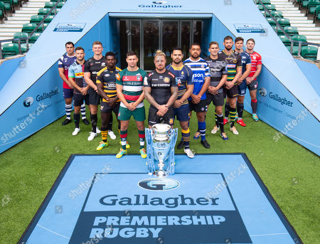 Players: Gloucester's Jaco Kriele, Newcastle Falcons' Toby Flood, Bath's Toby Faletau, Northampton Saints' Tom Wood, Leicester Tigers' Ben Youngs, Exeter Chiefs' Jack Nowell (Front with Trophy), Sale Sharks' Jono Ross, Harlequins' Danny Care, Bristol Bears' George Smith, Saracens' Owen Farrell, Wasps' Christian Wade and Worcester Warriors' Ben Te'o.