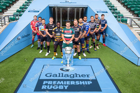 Players: Gloucester's Jaco Kriele, Newcastle Falcons' Toby Flood, Bath's Toby Faletau, Northampton Saints' Tom Wood, Leicester Tigers' Ben Youngs (Front with Trophy), Exeter Chiefs' Jack Nowell, Sale Sharks' Jono Ross, Harlequins' Danny Care, Bristol Bears' George Smith, Saracens' Owen Farrell, Wasps' Christian Wade and Worcester Warriors' Ben Te'o.