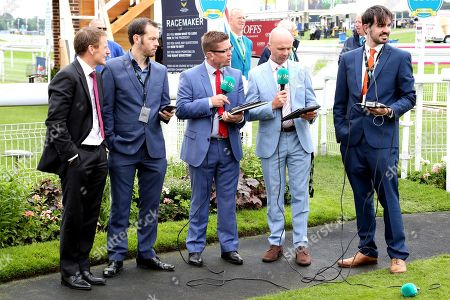 The ITV Racing Team including Jason Weavr, Luke Harvey and guest Johnny Murtagh commentating on the draw for the 2018 Ebor Handicap  during the Yorkshire Ebor Festival, Darley Yorkshire Oaks, at York Racecourse, York