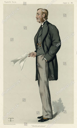 Henry George Percy 7th Duke of Northumberland (1846 - 1918) Lord Lovaine Between 1865 and 1867 and Earl Percy Between 1867 and 1899 Was A British Conservative Politician. He Served As Treasurer of the Household Under Benjamin Disraeli Between 1874 and 1875 and Was Chairman of the National Union of Conservative and Constitutional Associations From 1879 to 1883. Caption: 'Northumberland' . Caricature by T in Vanity Fair, August 1881