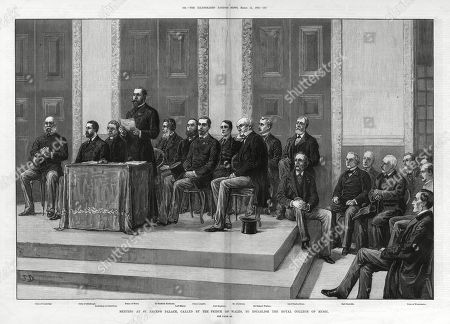 A Meeting at St. James's Palace Called by the Prince of Wales to Establish the Royal College of Music. From Left to Right: Duke of Cambridge Duke of Edinburgh Archbishop of Canterbury Prince of Wales Sir Stafford Northcote Lord Mayor Prince Leopold Lord Rosebery Mr Gladstone Sir Richard Wallace Lord Charles Bruce Earl Granville and the Duke of Westminster. Unattributed Engraving in the Illustrated London News, 11th March 1882, Page 244-245