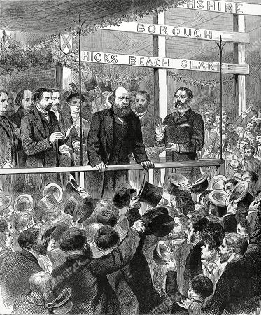 Engraving of Robert Arthur Talbot Gascoyne Cecil 3rd Marquis of Salisbury the English Conservative Statesman Addressing the Conservative Association at Newport Monmouthshire. On the Death of Disraeli in 1881 Salisbury Became Leader of the Conservative Party and Was British Prime Minister Several Times in the 1880's and 90's. Illustrated London News. 1885. Cover Page.