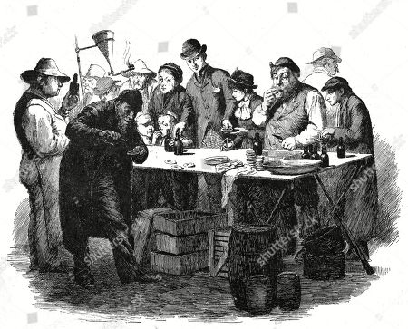 The Commencement of the Oyster Season 1886. A Gathering of Poor Victorians Tucking Into Oysters at A Stall. Drawing by Hugh Thomson in the English Illustrated Magazine, 1886