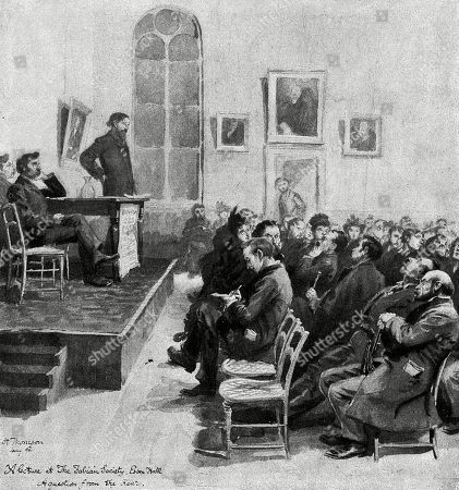 The Fabian Society Meets at Essex Hall London . Illustration by Hugh Thomson in Scribner's, April 1892, Page 419