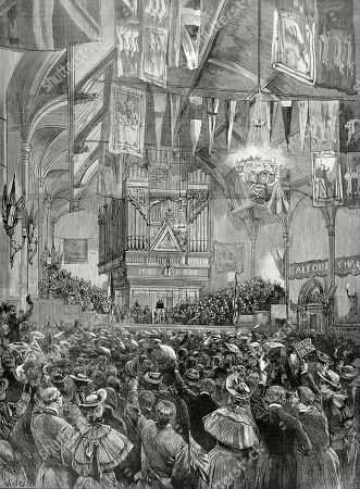 Illustration Showing Robert Arthur Talbot Gascoyne Cecil (1830-1903) 3rd Marquis of Salisbury English Conservative Statesman Addressing A Meeting in the Guildhall Londonderry 1893. On the Death of Disraeli in 1881 Salisbury Had Become Leader of the Conservative Party and Was British Prime Minister Several Times in the 1880's and 90's. Illustrated London News. 1893. Page 660. by W.h. Overstrand.