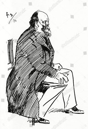 Robert Gascoyne-cecil 3rd Marquess of Salisbury (1830-1903) - British Politician and Statesman - Caricature by Phil May. Illustration by Phil May From 'The Phil May Folio' (1904)