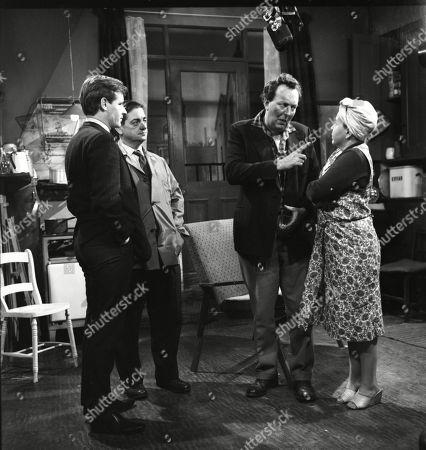 William Roache (as Ken Barlow), Frank Pemberton (as Frank Barlow), Paul Dawkins (as George Pickup) and Susan Field (as Ethel Tyson)