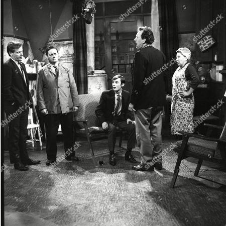 Frank Pemberton (as Frank Barlow), William Roache (as Ken Barlow), Bunny May (as Jim Pickup), Paul Dawkins (as George Pickup) and Susan Field (as Ethel Tyson)