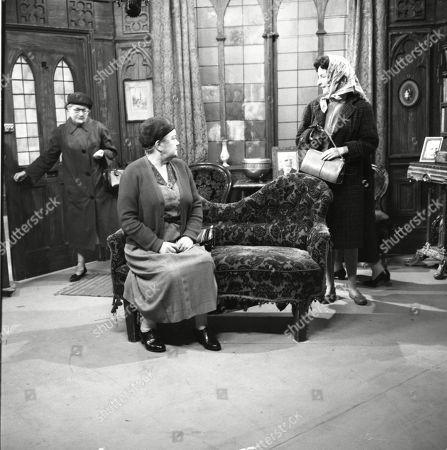 Lynne Carol (as Martha Longhurst), Violet Carson (as Ena Sharples) and Ruth Holden (as Vera Lomax)