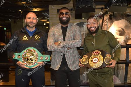 Boxer Badou Jack (C) with manager Amer Abdallah (L) and Ashley Theophane during a Media Event at the BXR Gym on 23rd August 2018