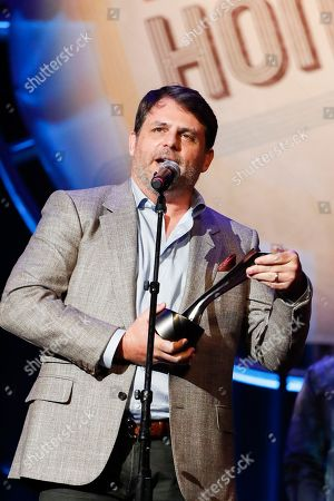 Rhett Akins accepts the Songwriter of the Year Award at the 12th Annual ACM Honors at the Ryman Auditorium on in Nashville, Tenn