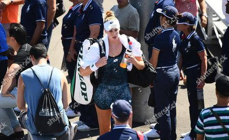 Stock Photo of A dejected Naomi Broady walks off after losing her 2nd Qualifying round match to Georgina Garcia Perez