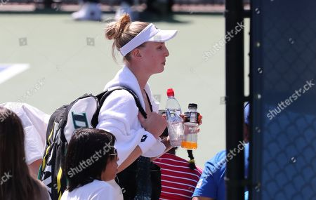 Great Britain's Naomi Broady leaves the court after losing in 2nd Qualifying Round