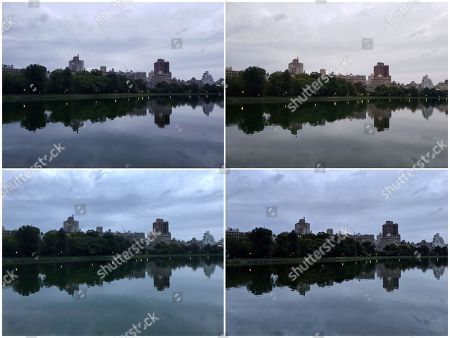 This combo shows photos of Central Park in New York on . Starting at the top left and going clockwise, the phones used are Samsung's Galaxy Note 9, Samsung's Galaxy S9, Google's Pixel 2 XL and Apple's iPhone X