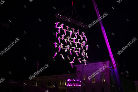 Spanish collective La Fura dels Baus perform the Human Net, consisting of over 40 daredevils from Helsinki during the Night of the Arts in front of the cathedral in Helsinki, Finland, 23 August 2018. The work is created by the flowing movement of people forming different shapes while hanging from a tall crane.