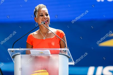 Katrina Adams is a former US professional tennis player. She is the current president of the United States Tennis Association during the US Open Live Draw Unveiling during the US Open Experience at Brookfield Place