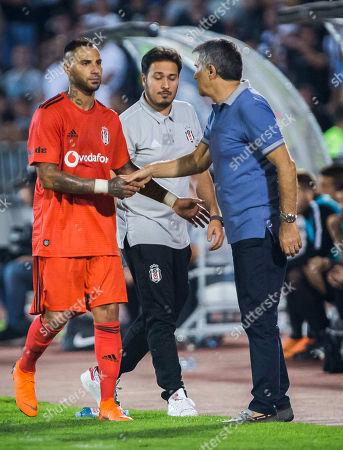 Ricardo Quaresma of Besiktas greets with Head Coach Senol Gunes of Besiktas after the substitution