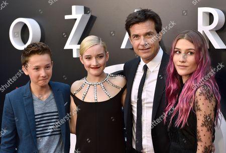 """Skylar Gaertner, Julia Garner, Jason Bateman, Sofia Hublitz. Skylar Gaertner, from left, Julia Garner, Jason Bateman and Sofia Hublitz arrive at a special screening of """"Ozark"""" Season 2 at Arclight Hollywood, in Los Angeles"""