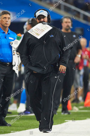 Detroit Lions head coach Matt Patricia on the sideline against New York Giants during an NFL football game at Ford Field in Detroit, Friday, Aug.., 2018