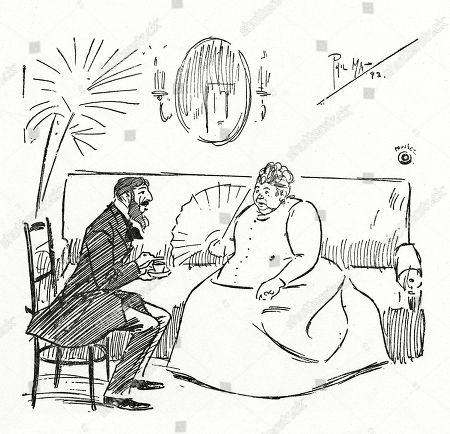Mrs Willson-blobbs (widow of A Wealthy Pork Butcher) - 'My Dear Count When You Come to England You Must Come and See Me at Blobbs Court!' Monsieur Le Count - 'Oh Sank You Very Much - Vat Nombare?'. Illustration by Phil May From 'The Phil May Folio' (1904)