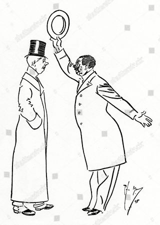 You Engleeshe You Do not Fight Ze Duel. Vat D You Do Ven You Air Insult? 'Oh We Write to the Newspaper.'. Illustration by Phil May From 'The Phil May Folio' (1904)