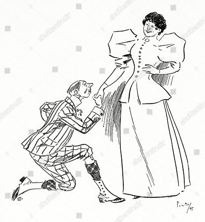 He: 'Oh! Smile Upon My Suit.' She: 'I Do I Do. I Can't Help It.'. Illustration by Phil May From 'The Phil May Folio' (1904)