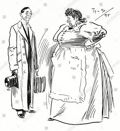 Theatrical Lodging House Keeper: 'What Name Did You Say Sir? Harlton?' Actor (about to Take Apartment): 'No not Harlton - Arlton.' T.l.k: 'Oh Thank Goodness - I'm Spared One Haitch For A Time.'. Illustration by Phil May From 'The Phil May Folio' (1904)