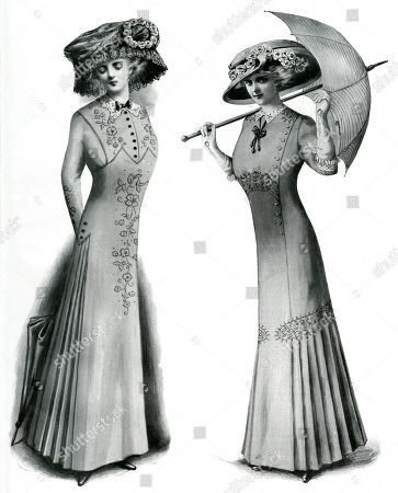 0224681d48c54 Stock Image of Two Women's Summer Fashion Model On Left; Coloured Linen  Embroidered with Floss