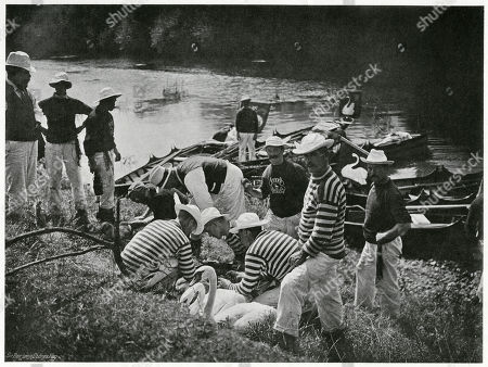 'Nicking Or Marking' Annual Ceremony Taking Several Days where British Crown Swans Are Carefully Searched Rounded Up Caught Ringed and Then Released. . Photograph by Benjamin Stone in 'Sir Benjamin Stone's Pictures', Page 14