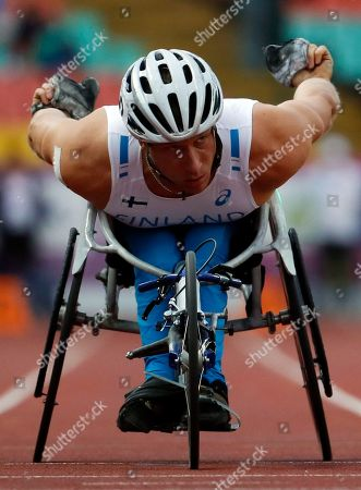 Stock Image of Leo Pekka Tahti from Finnland competes in the men´s 100m T54 heat at the Para Athletics 2018 European Championships, Berlin, Germany, 24 August 2018.