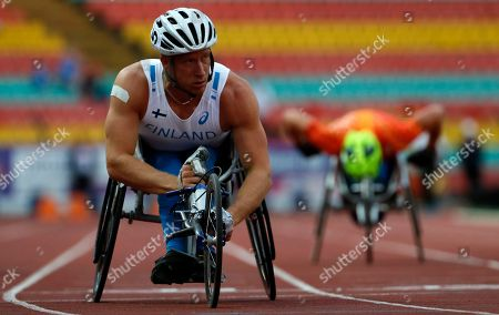 Leo Pekka Tahti from Finnland competes in the men´s 100m T54 heat at the Para Athletics 2018 European Championships, Berlin, Germany, 24 August 2018.