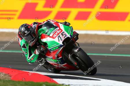 British MotoGP rider Scott Redding of the Aprilia Racing Gresini Team in action, during the MotoGP practice session of the 2018 Motorcycling Grand Prix of Britain at the Silverstone race track, Northampton, Britain, 24 August 2018. British MotoGP takes place from 24 - 26 August 2018.