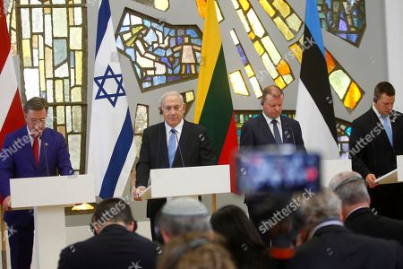 (L-R) Latvian Prime Minister Maris Kucinskis, Israeli Prime Minister Benjamin Netanyahu, Lithuanian Prime Minister Saulius Skvernelis, and Estonian Prime Minister Juri Ratas during a press conference after meeting with Baltic states' Prime Ministers in Vilnius, Lithuania, 24 August 2018. Netanyahu is on a four-days visit to Lithuania.