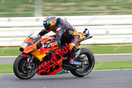 British MotoGP rider Bradley Smith of the Red Bull KTM Factory Racing team in action during the free practice session of the 2018 Motorcycling Grand Prix of Britain at the Silverstone race track in Northampton, Britain, 24 August 2018.