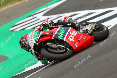 British MotoGP rider Scott Redding of the Aprilia Racing Gresini team in action during the free practice session of the 2018 Motorcycling Grand Prix of Britain at the Silverstone race track in Northampton, Britain, 24 August 2018.