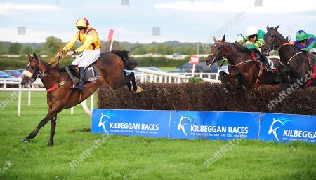 KILBEGGAN FREEWHEELIN DYLAN and Conor Maxwell (left) jump the last to win The Sean Hughes Memorial Handicap Steeplechase. Healy Racing