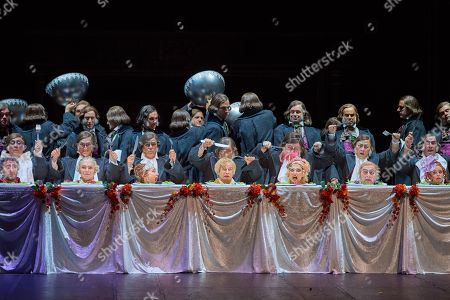 Stock Image of Michele Losier, Angelina/Cenerentola  Taylor Stayton, Don Ramiro  Nikolay Borchev, Dandini  Renato Girolami, Don Magnifico  Clara Meloni, Clorinda   Katherine Aitken, Tisbe  Simone Alberghini, Alidoro