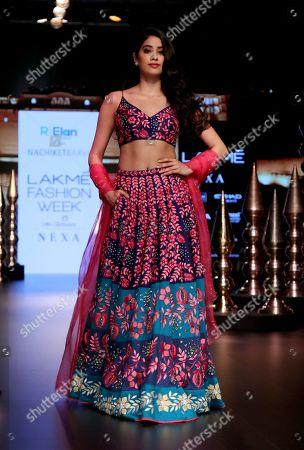 Indian film actress Janhvi Kapoor on catwalk