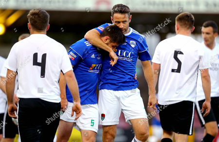 Cork City vs Maynooth University Town. Cork's Aaron Barry celebrates scoring with Alan Bennett