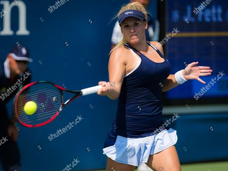 Jana Fett of Croatia in action during the final qualifications round at the 2018 US Open Grand Slam tennis tournament