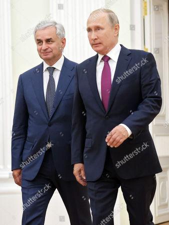Russian president Vladimir Putin (right) and Abkhazian president Raul Khajimba (left) during the meeting in Kremlin.