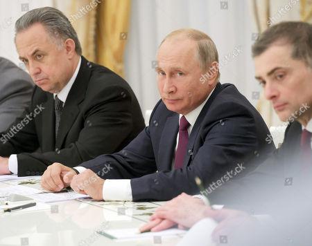 Russian Prime minister deputy Vitaly Mutko, Russian president Vladimir Putin and Aide of Russian president Vladislav Surkov during the meeting.