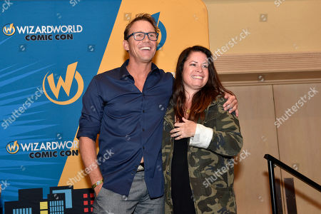 Stock Photo of Brian Krause, Holly Marie Combs. Brian Krause and Holly Marie Combs seen on Day 1 at Wizard World Comic-Con at the Donald E Stephens Convention Center, in Rosemont, IL