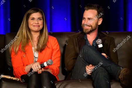 Stock Photo of Danielle Fishel, Rider Strong. Danielle Fishel and Rider Strong seen on Day 1 at Wizard World Comic-Con at the Donald E Stephens Convention Center, in Rosemont, IL