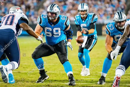 Stock Photo of Carolina Panthers center Tyler Larsen (69) during the preseason NFL football game between the New England Patriots and the Carolina Panthers on in Charlotte, NC