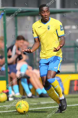 Rakim Richards of Haringey during Haringey Borough vs Stanway Rovers, Emirates FA Cup Football at Coles Park Stadium on 25th August 2018