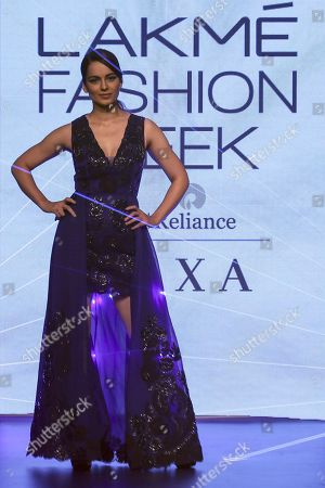Bollywood actress Kangana Ranaut presents a creation by Indian designers Pankaj and Nidhi during the Lakme Fashion Week (LFW) Winter/Festive 2018 in Mumbai, India, 25 August 2018. More than 90 designers are showcasing their collections at the event until 26 August.