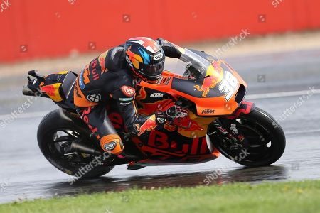 #38 Bradley Smith, British: Red Bull KTM Factory Racing negotiates the wet track during the GoPro British Grand Prix MotoGP at Silverstone, Towcester. Picture by Graham Holt
