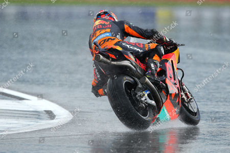 British MotoGP rider Bradley Smith of the Red Bull KTM Factory Racing Team in action, during the MotoGP practice session of the 2018 Motorcycling Grand Prix of Britain at the Silverstone race track, Northampton, Britain, 25 August 2018.